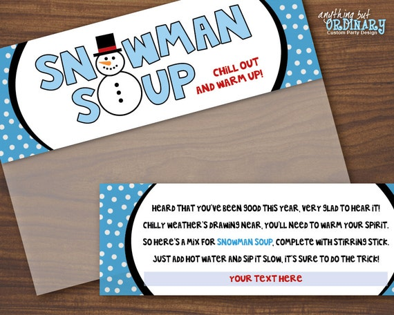 Snowman Soup Bagtoppers, Hot Chocolate Editable Treat Bag Labels ...