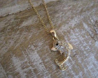 Gold Dolphin Necklace - Rhinestone Dolphin Necklace