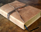 Large Distressed Leather Bible Cover Custom Made to Order Copper (389O)
