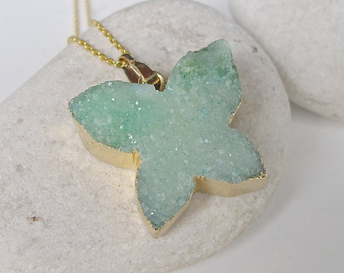 Butterfly Druzy Necklace- Agate Necklace- Statement Necklace- Necklace- Crystal Necklace- Drusy Necklace- Stone Necklace- Gemstone Necklace