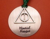 Harry Potter Inspired - Mischief Managed - A Hand Stamped Ornament