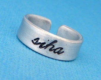 Siha - A Hand Stamped Aluminum Ring