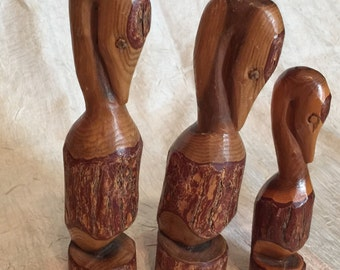 """Vintage Hand Carved From Logs Pelican Family Birds Nautical Decor Art Wood Sculpture Figurine, 8"""",         7 1/2"""", 6"""" Tall"""