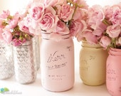 Painted Mason Jars Home Decor Wedding Centerpiece Vase Pink Yellow