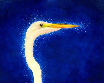 "Night Crane Print: digital print of an original painting available 5x7"" or 8x10"""