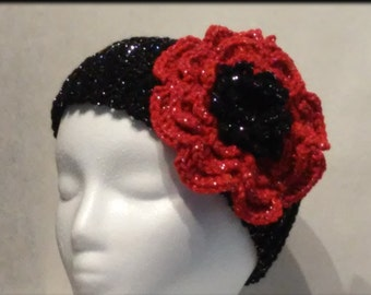 Crochet Ribbed Headband with Flower, Black Sparkle, Red Sparkle Flower, Ear Warmer, Fall and Winter Accessory, Teen, Adult, Women