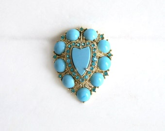 Vintage Weiss Brooch Pale Turquoise Cabs Blue Rhinestones  Unique jewelry