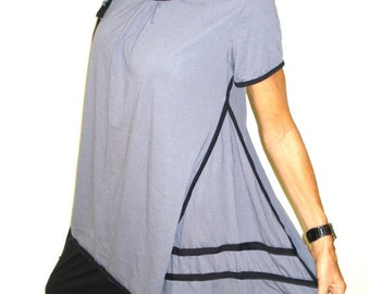 CLEARANCE SALE Frill Detailed Short Sleeved Tunic Top In Silver Grey