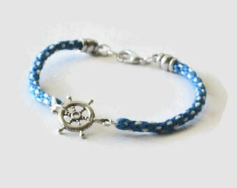 Ship's wheel bracelet - sterling silver on kumihimo braid - blue and white