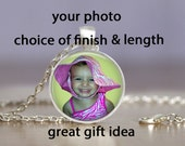 Photo Necklace or Keyring Jewelry - Choose Finish & Length - Black Bronze Copper Gold Gunmetal Silver - Gift Mother Grandmother Nana Family
