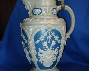 Antique Villeroy and Boch Mettlach Covered Pitcher or Ewer, Rare