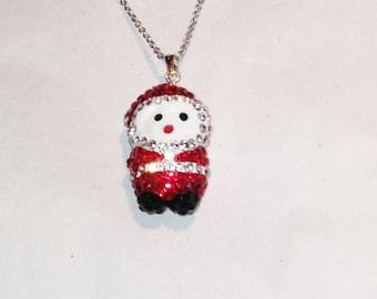Crystal Santa Necklace Handmade Jewelry NorthCoastCottage