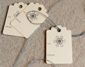 Holiday Gift Tags Snowflake Christmas Scalloped Hang Tags
