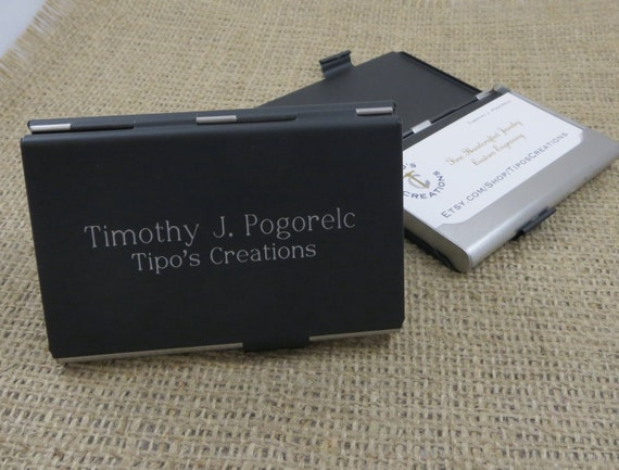 Black matte business card holder this personalized business card holder makes a great office gift the double sided business card holder will allow you to hold your cards on one side and colourmoves
