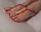 Reds with Yellow Barefoot Sandals