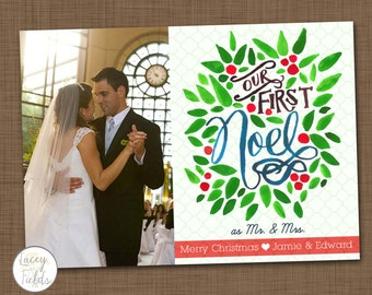 Newlywed Christmas card- watercolor Christmas card- handlettered holiday card- unique Christmas card- couples holiday card