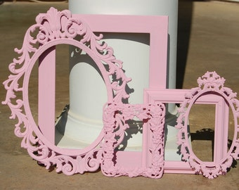Nursery Frames - Shabby Chic - PICTURE FRAME Set - Ornate Pink Frame Collection