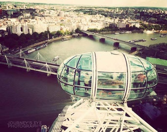 Photo of London, art print, landscape photograph, London artwork, London decor - London Eye