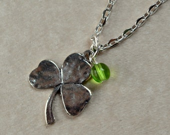 Irish Shamrock Necklace St Patrick's Day Clover Silver Gaelic Pendant Good Luck Charm Celtic Green Lucky Fashion Jewelry Saint FREE Shipping