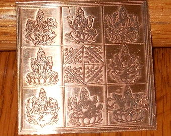Ashta Lakshmi Pure Copper Blessed Yantra - Wealth Blessings from 8 Forms Laxmi