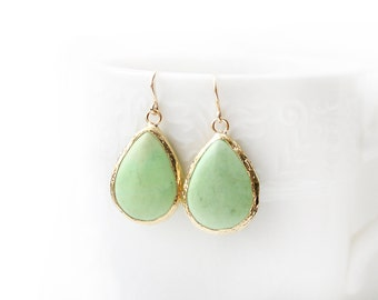 Matte Gold Plated Framed Drop Pistachio Green Turquoise Earrings