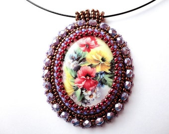 Beadwork Flower Necklace Bead Embroidered Flower Pendant Purple Glass Beads Porcelain Cameo Handmade Jewelry OOAK Ready to ship
