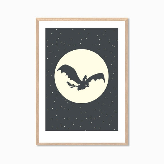 How To TRAIN YOUR DRAGON | Hiccup and Toothless Flying Poster : Modern Illustration Retro Art Wall Decor Print