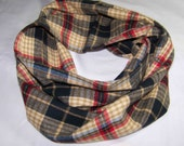 Infinity Scarf - 13x 62 - Men's Flannel Scarf - Scarves -  Circle Scarf - Men's Winter Scarf - Plaid Scarf - Camel, Brown Red