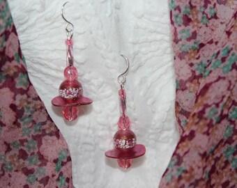 Rose Pink Dangle Earrings