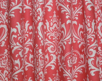 "CUSTOM CURTAINS - A pair of Custom Drapes Ozborn Coral and White 24"" wide X up to 96"" Long"