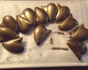 Runway Large Brass Bronze Half Heart Necklace Beads