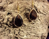 Earrings - Gold Plated Baroque Style Deep Plum Burgundy Crystal Pierced Teardrop Dangle Earrings