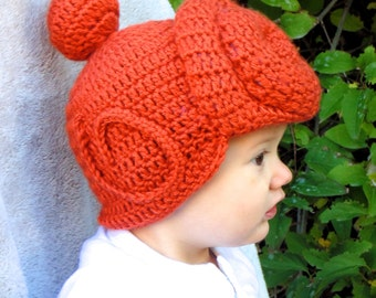 Crochet Wilma Flintstone Inspired Wig Hat Orange Red Hair Beanie with Swirl Bun