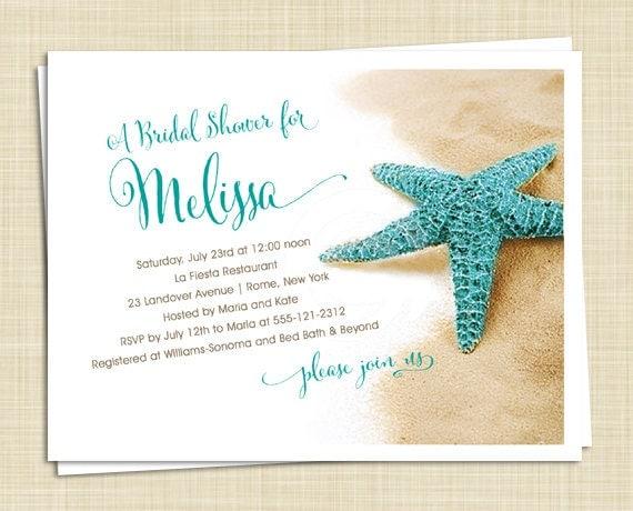 10 Bridal Shower Invitations Starfish On Beach Island