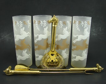 4 Libbey Cavalcade Glasses with Horse Head Bar Tool Set, Gold Finish Spoon Fork Strainer, Made in Italy, Frosted White and Gold Tumblers