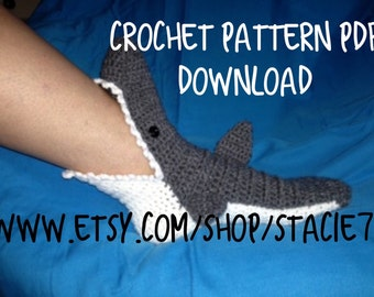 PATTERN for crocheted Shark Socks- Baby, Child, and Adult Sizes in ENGLISH only