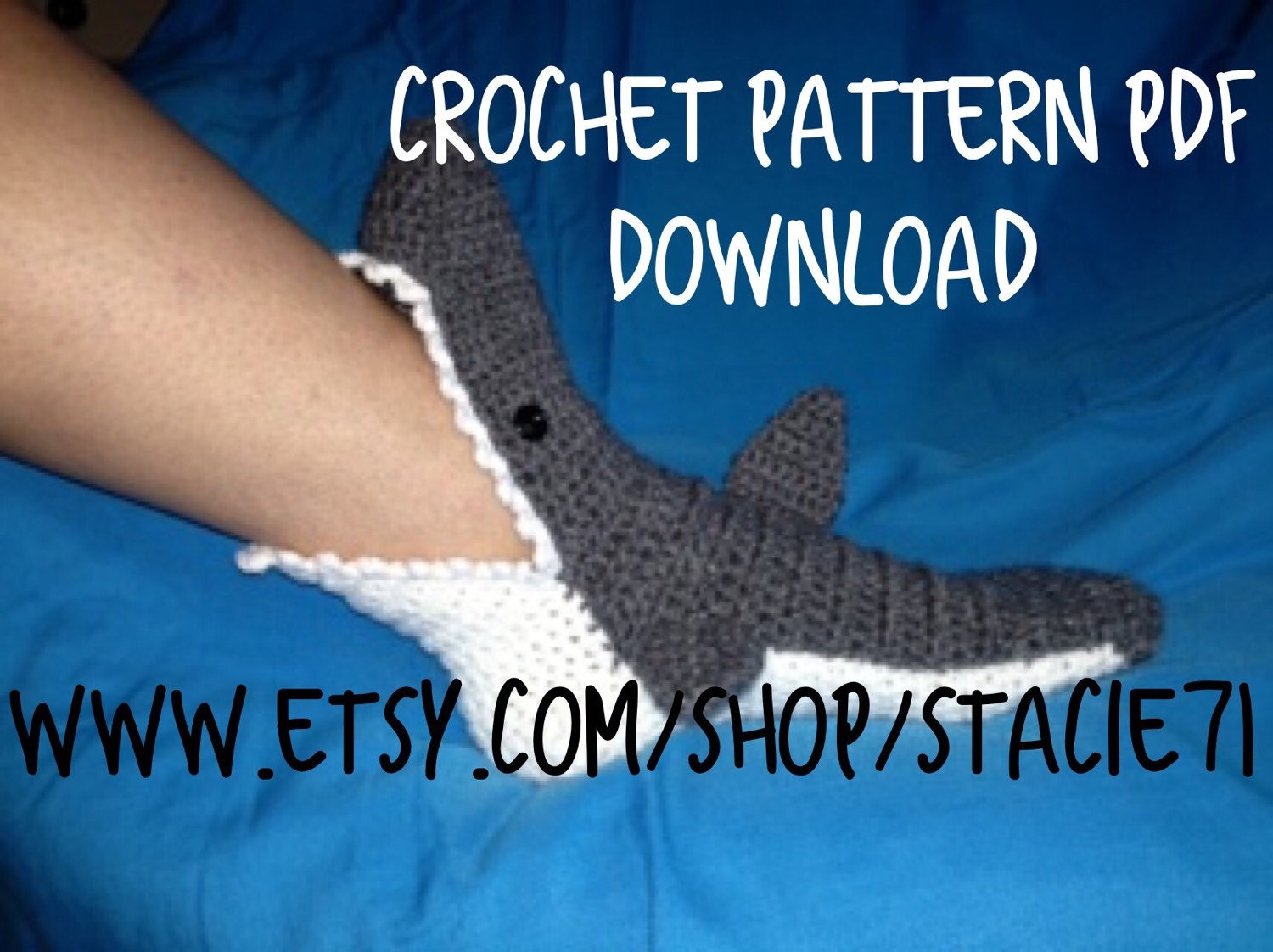 Crochet Shark Shoes Free Pattern : PATTERN for crocheted Shark Socks Baby Child and Adult