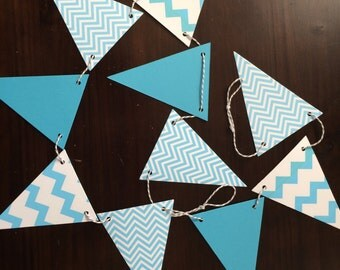 Turquoise and White Chevron  Pennant Banner