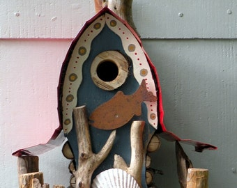bird house, Birdhouse, hand crafted, original, unique garden art, gift, Nautical Birdhouse in custom colors (country blue shown)
