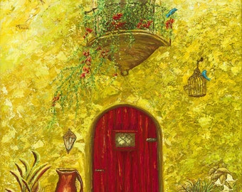 Fine artLimited Edition Giclee Print on canvas of Marilu Bryan Original oil painting, 15 x 20 Villa Verde Red Door