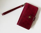 Samsung Galaxy Note 5 / Note 4 / Note 3 / Note 2 Wallet - Leather Samsung Galaxy Note 2 / 3 / 4 / 5 Case with Crown Button Snap in Burgundy