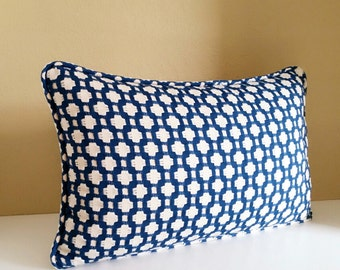 Lumbar Pillow Cover Blue Betwixt Indigo Fabric Available With or Without Self welt cording