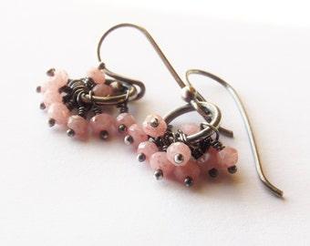 Opal Cluster Earrings, Earrings, Sterling Earrings, Dangle Earrings, Pink Earrings, Opal Earrings, Minimalist Earrings, Pink Opal Earrings