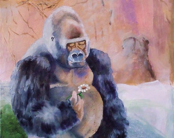 Wildlife Acrylic Painting of Gorilla sitting in Landscape with Daisy