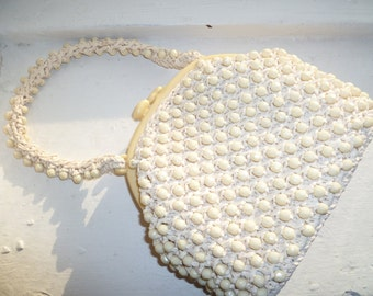 White Beaded Purse, Short Strap, White Straw Purse with Beads