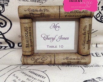 WINE THEME - CORK Place Card/Escort Card/Photo Frame or Favor - You personalize Names and Colors!