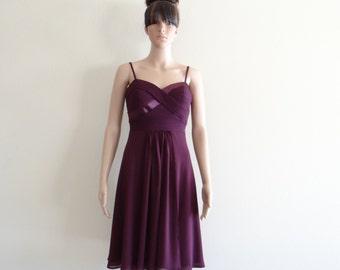 Plum Bridesmaid Dress. Plum Evening Dress. Party Dress. Chiffon Knee Length Dress.