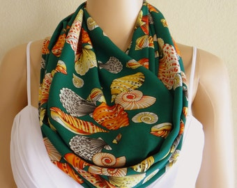 Snail Print Scarf. Green Pattern Scarf. Printed Infinity Scarf. Printed Circle Scarf. Soft Chiffon Loop Scarf.