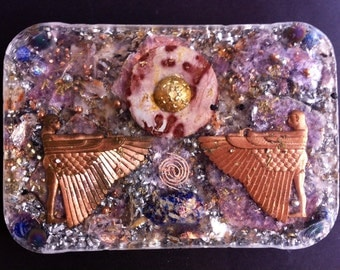 Orgonite Altar to the Sun God Ra, Large Agate Sun, Two Egyptian Angels or Guardians Copper, Multiple Beads and Stones, Ornate and Gorgeous!
