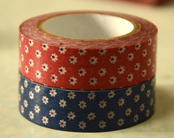 2 Rolls of Japanese  Washi Masking Paper Tape- Red and Blue Floral Motifs